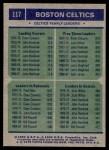 1975 Topps #117   -  Dave Cowens / Kevin Stacom / Jo Jo White Celtics Team Leaders Back Thumbnail