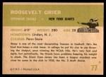 1961 Fleer #77  Roosevelt Grier  Back Thumbnail