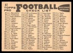 1959 Topps #61   49ers Team Checklist Back Thumbnail