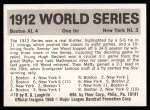 1971 Fleer World Series #10   1912 Red Sox / Giants -   Back Thumbnail