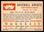 1960 Fleer #41  Home Run Baker  Back Thumbnail