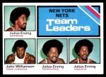 1975 Topps #282   -  John Williamson / Julius Erving Nets Team Leaders Front Thumbnail