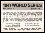 1971 Fleer World Series #39   1941 Yankees / Dodgers -   Back Thumbnail