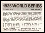 1971 Fleer World Series #24   1926 Cardinals / Yankees  (Rogers Hornsby) -   Back Thumbnail