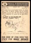 1959 Topps #39  Bill Forester  Back Thumbnail