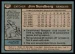 1980 Topps #530  Jim Sundberg    Back Thumbnail