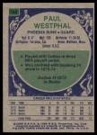 1975 Topps #186  Paul Westphal  Back Thumbnail
