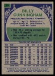 1975 Topps #20  Billy Cunningham  Back Thumbnail