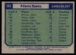 1975 Topps #203   Atlanta Hawks Back Thumbnail