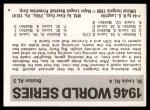 1971 Fleer World Series #44   1946 Cardinals / Red Sox  (Enos Slaughter) -   Back Thumbnail