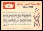 1960 Fleer Spins and Needles #1  Della Reese  Back Thumbnail
