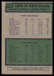 1975 Topps #310   ABA Finals Back Thumbnail