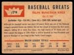 1960 Fleer #79  Ralph Kiner  Back Thumbnail