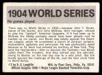 1971 Fleer World Series #2   1904 NO Series  (John McGraw) -   Back Thumbnail
