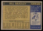 1971 Topps #2  Bill Bradley   Back Thumbnail