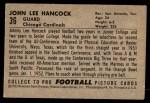 1952 Bowman Small #36  John Hancock  Back Thumbnail
