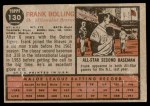 1962 Topps #130 GRN Frank Bolling  Back Thumbnail