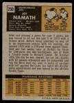 1971 Topps #250  Joe Namath  Back Thumbnail