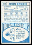 1968 Topps #139  John Brodie  Back Thumbnail