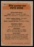 1983 Topps #101   -  Pete Rose Super Veteran Back Thumbnail