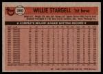 1981 Topps #380  Willie Stargell  Back Thumbnail