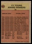 1972 Topps #623   Cy Young Award Back Thumbnail
