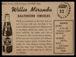1958 Hires Root Beer #32 xTAB Willie Miranda  Back Thumbnail