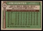 1976 Topps #100  Catfish Hunter  Back Thumbnail