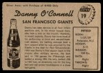 1958 Hires Root Beer #19 xTAB Danny O'Connell  Back Thumbnail
