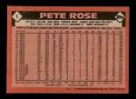 1986 Topps #1  Pete Rose  Back Thumbnail