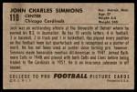 1952 Bowman Large #110  Jack Simmons  Back Thumbnail
