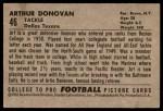 1952 Bowman Large #46  Art Donovan  Back Thumbnail