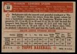 1952 Topps #33  Warren Spahn  Back Thumbnail