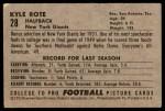 1952 Bowman Large #28  Kyle Rote  Back Thumbnail
