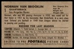 1952 Bowman Large #1  Norm Van Brocklin  Back Thumbnail