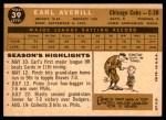 1960 Topps #39  Earl Averill Jr.  Back Thumbnail