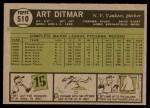 1961 Topps #510  Art Ditmar  Back Thumbnail