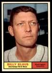 1961 Topps #187  Billy Klaus  Front Thumbnail