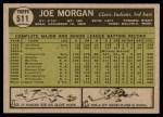 1961 Topps #511  Joe Morgan  Back Thumbnail