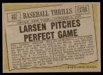 1961 Topps #402   -  Don Larsen Baseball Thrills Back Thumbnail
