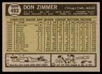 1961 Topps #493  Don Zimmer  Back Thumbnail