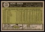 1961 Topps #540  Jackie Jensen  Back Thumbnail