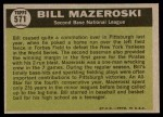 1961 Topps #571   -  Bill Mazeroski All-Star Back Thumbnail
