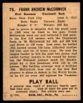 1940 Play Ball #75  Buck McCormack  Back Thumbnail