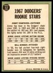 1967 Topps #12   -  Bill Singer / Jim Campanis Dodgers Rookies Back Thumbnail