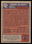 1985 Topps #238  John Elway  Back Thumbnail