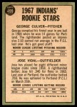 1967 Topps #499   -  George Culver / Jose Vidal Indians Rookies Back Thumbnail