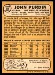 1968 Topps #336  John Purdin  Back Thumbnail