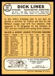 1968 Topps #291  Dick Lines  Back Thumbnail