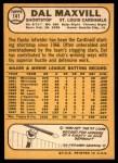 1968 Topps #141  Dal Maxvill  Back Thumbnail